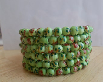 6 Row Memory Wire  Cuff Bracelet made with Green, Pink and Brown ceramic beads