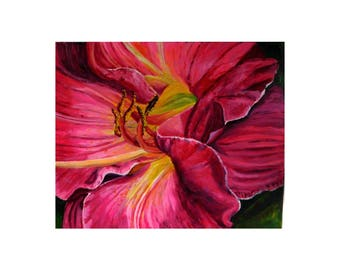 Pink Lily - print of original painting by Julie Miscera c2017