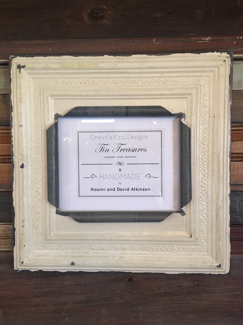 Huge 11 X 14 Distressed Antique White And Metal Coloring Tin Ceiling Tile Picture Frame