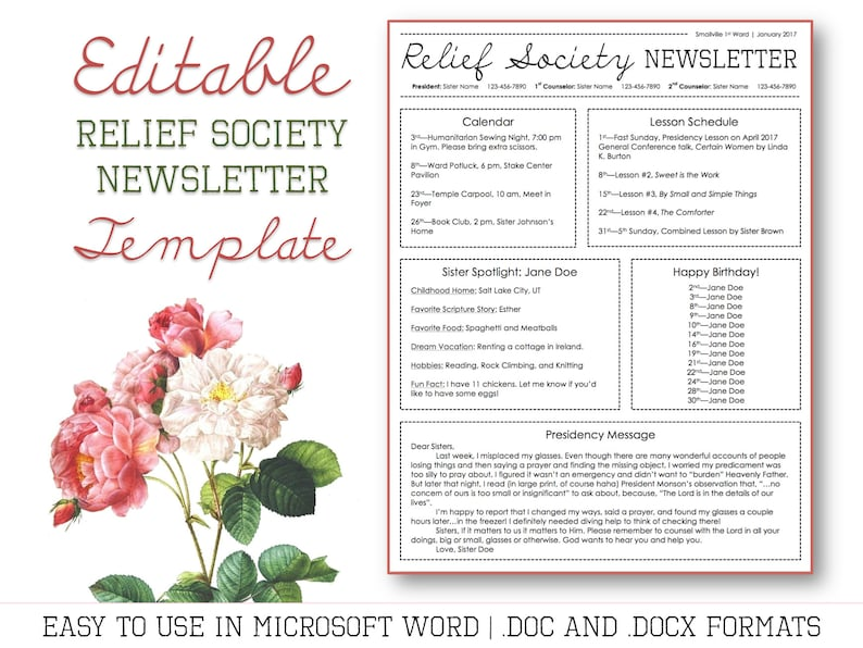 graphic regarding Free Printable Newsletter Templates for Microsoft Word referred to as Aid Lifestyle E-newsletter Template for Microsoft Term - EDITABLE - LDS Obtain - Printable