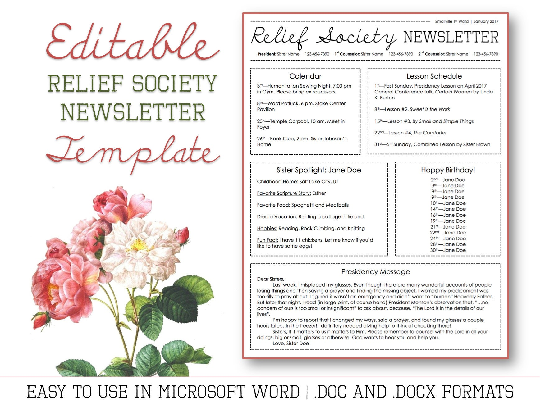 Relief Society Newsletter Template For Microsoft Word Etsy