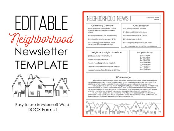 Newsletter Template For Microsoft Word Neighborhood Subdivision Hoa Editable Instant Download Printable