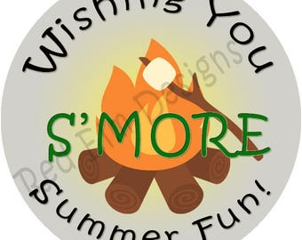 """Camping Party Stickers - Sheet of 20 - 2"""" round.  Wishing YOu S'MORE Summer Fun!  2 Inch Round Camping Fire Party Stickers"""