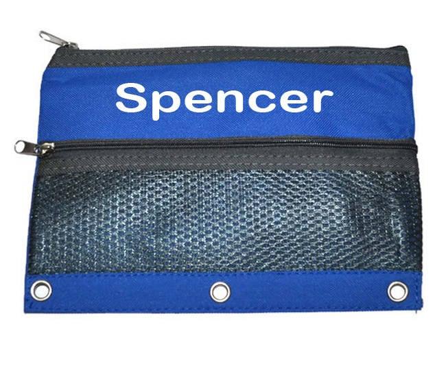 Blue Personalized Pencil Case Back To School Zipper Binder