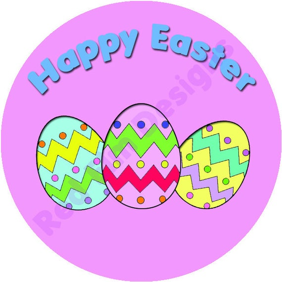 Happy easter stickers sheet of 20 2 round easter party favors 2 inch round easter stickers