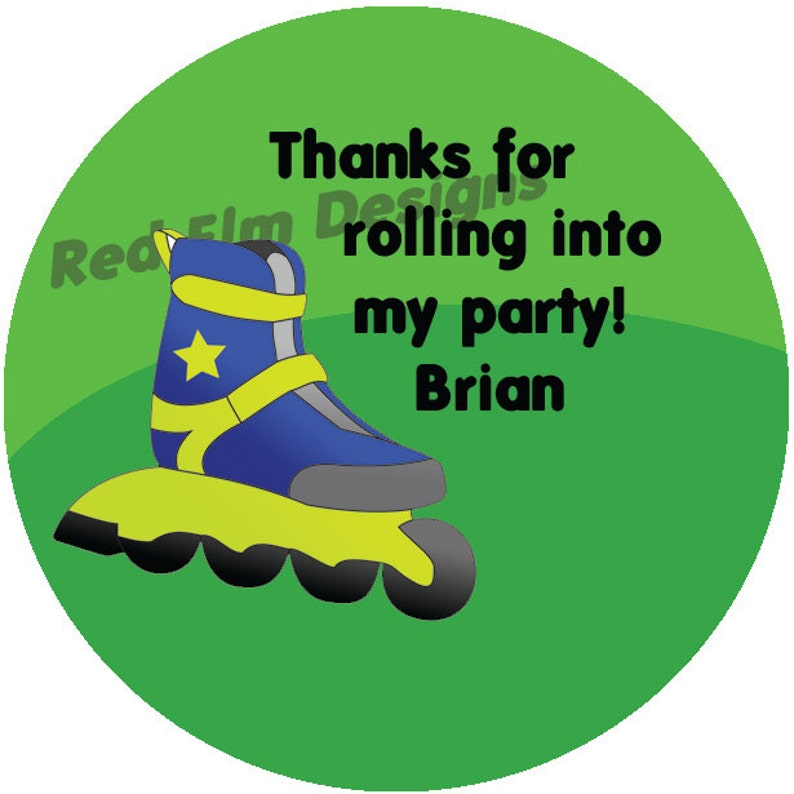2 Inch Round Rollerblade Stickers Sheet of 20-2 round Roller Skate Birthday Party Favors Rollerblade Stickers Personalized