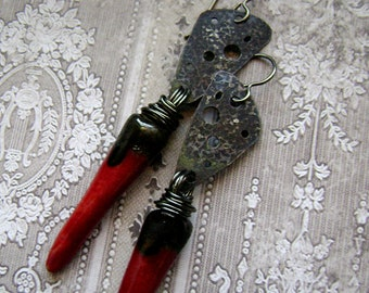 mixed metal eco friendly assemblage red spike earrings, textured metal, Lava Flow, metalwork earrings, ooak, scorchedearth, AnvilArtifacts