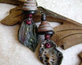asymmetrical rustic earrings, leaf earrings, ceramic leaf, assemblage earrings, artisan ceramic leaves, unique rustic rocker, AnvilArtifacts