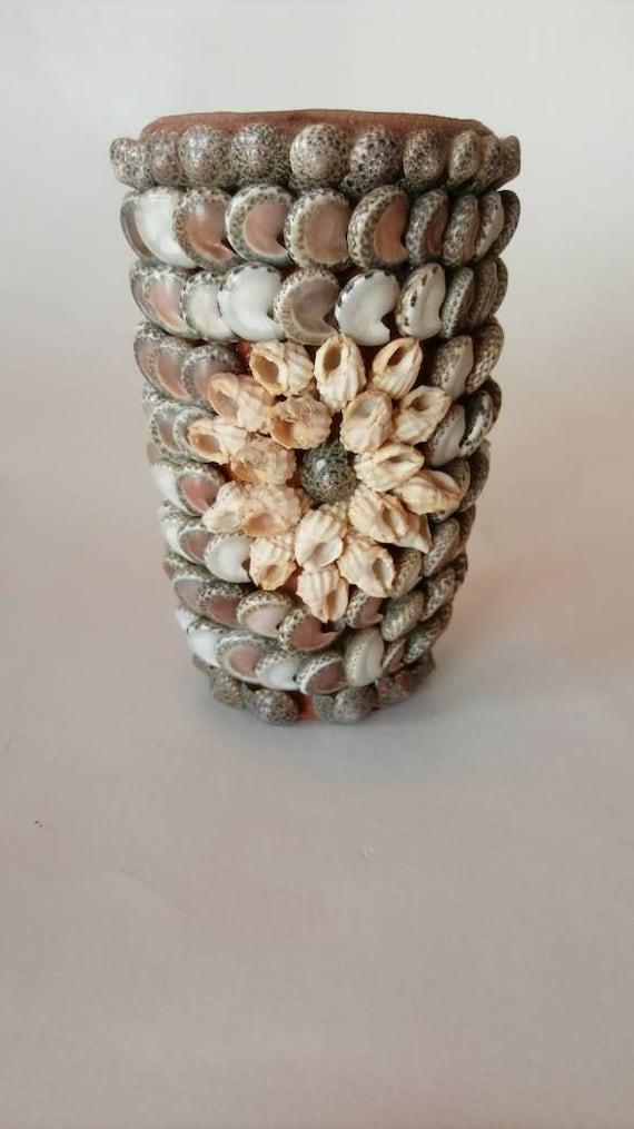 Vintage Seashell Vase Shells Beach Nautical Etsy