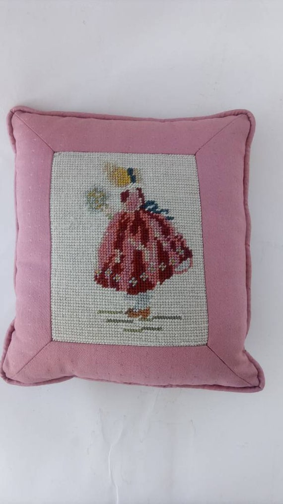Vintage Needlepoint Pillow For Sale at