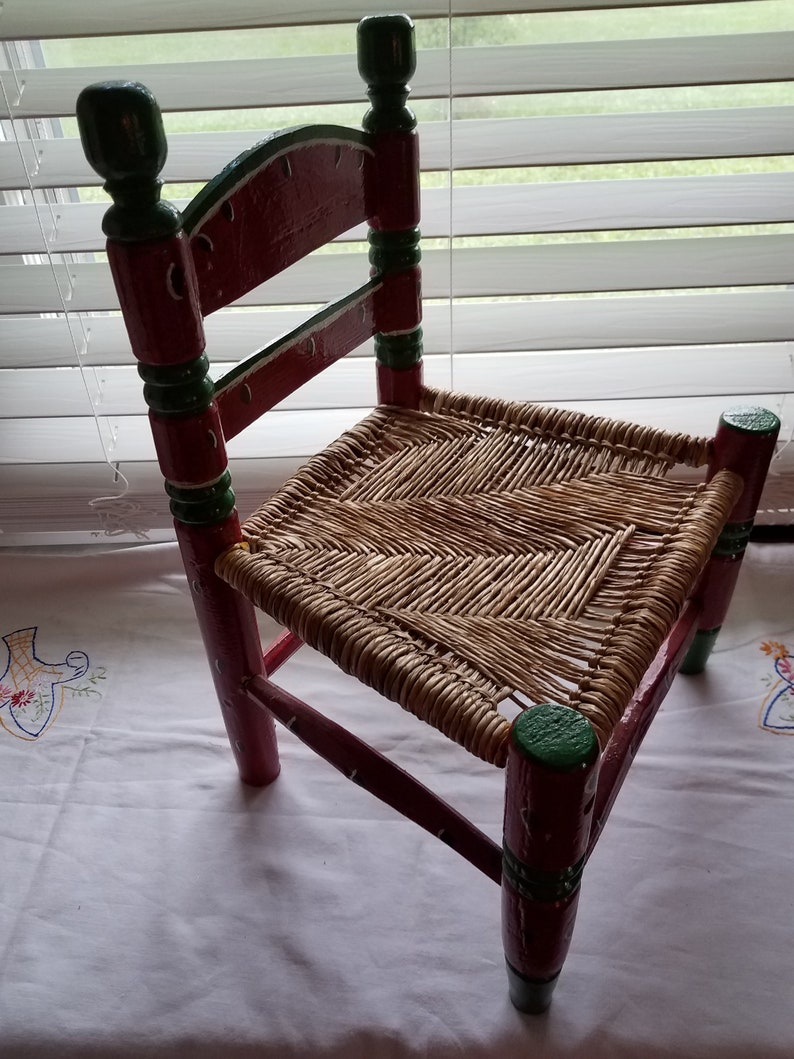 Vintage Childrens Chair Wood Chair Woven Seat Hand Painted Red Etsy