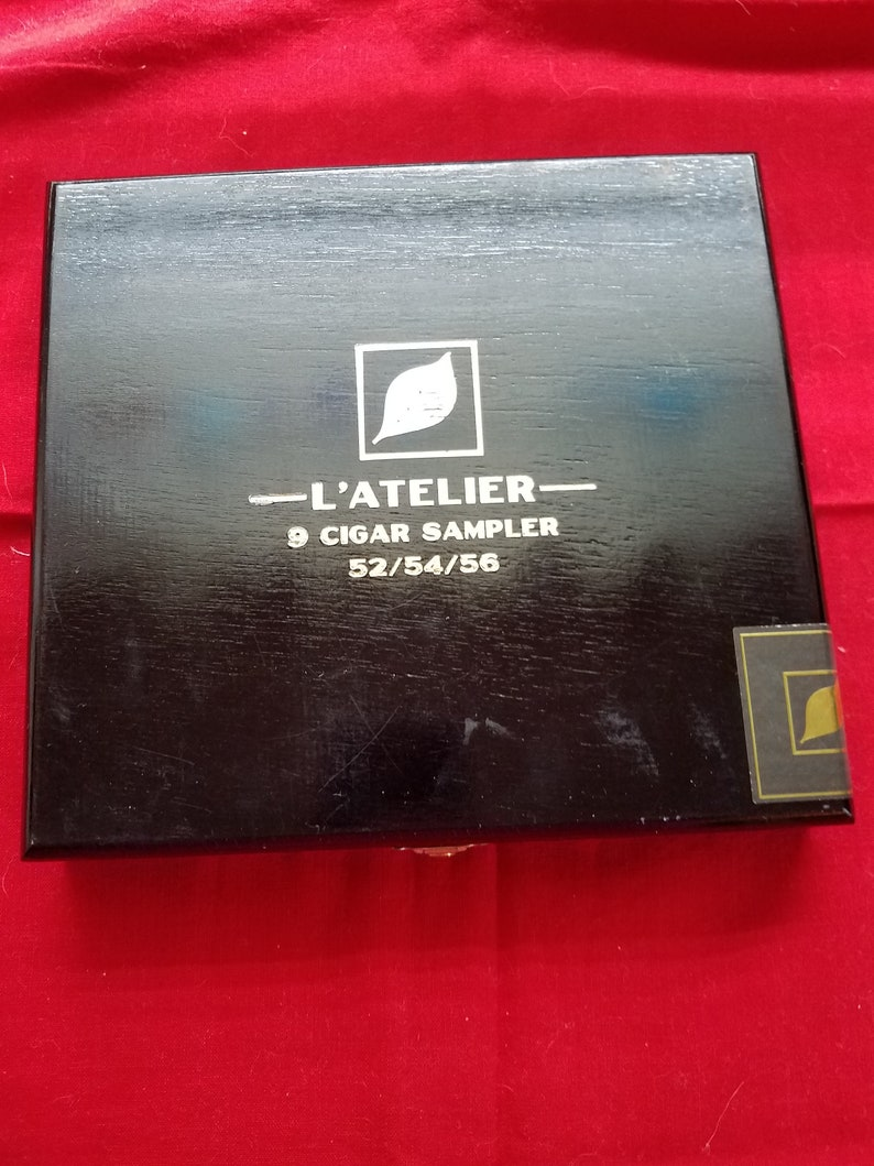 """L Atelier 50 wood box cigar box black and gold l""""atelier cigar collectible tobacciana  advertising box"""