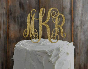 Custom Gold Glitter Monogram Wedding Cake Topper