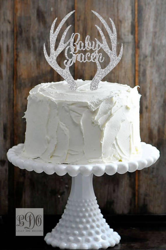 Available in Gold Glitter Deer Antler Welcome Baby Name Cake Topper Silver o