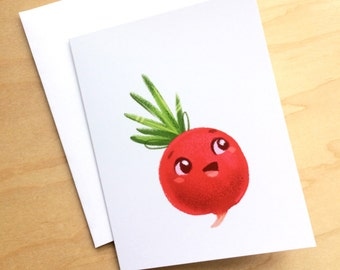 Greeting Card: Radish Vegetable - small card, Blank Card, Thank you, Happy Birthday, Cute Stationery, Unique Cards, Gifts for Cooks