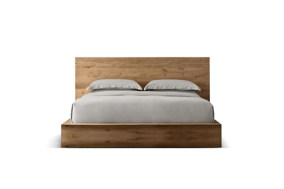 Modern Solid Oak Platform Bed Selfoss Luxury Furniture Etsy
