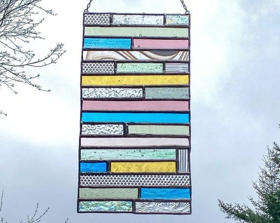Pastel Stacked Stripe Stained Glass Suncatcher • Panel