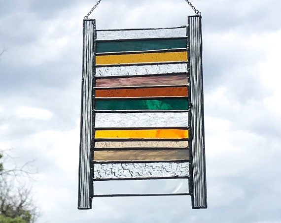 Blue & Orange Stacked Stripe Stained Glass Panel