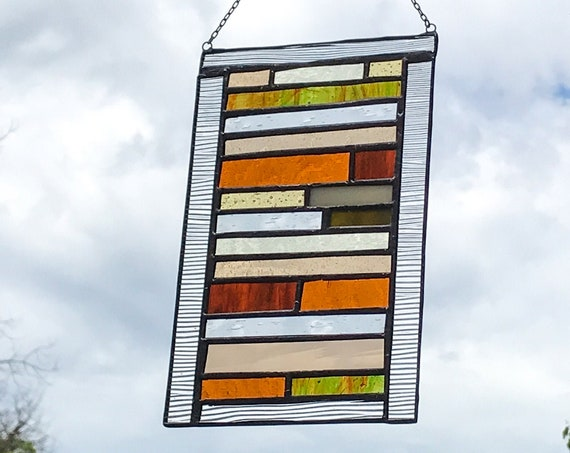 Green & Orange Stacked Stripe Stained Glass Panel • Suncatcher