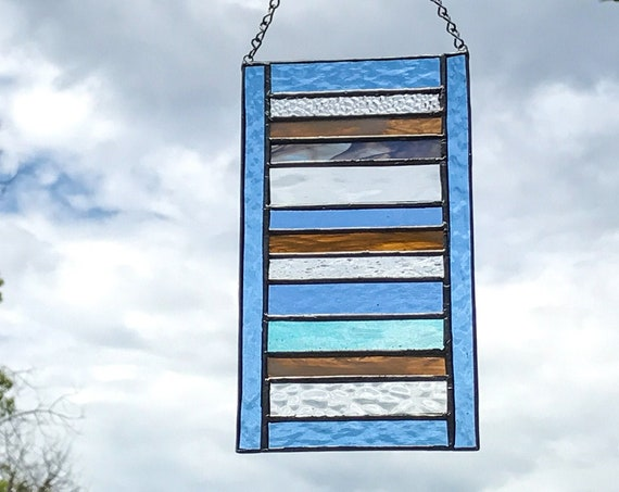 Orange & Blue Stacked Stripe Stained Glass Panel