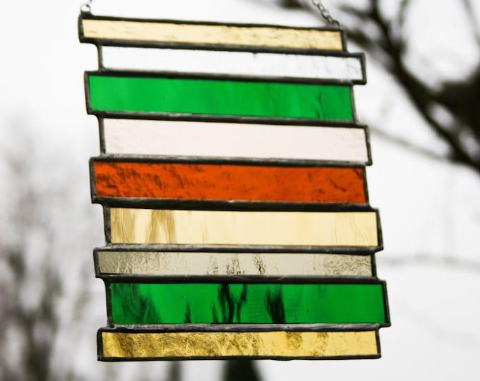Autumn & Green Stained Glass Suncatcher / Panel