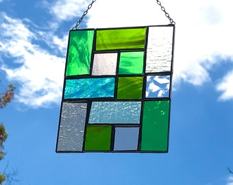 Geometric Squares Stained Glass • Suncatcher • Panel