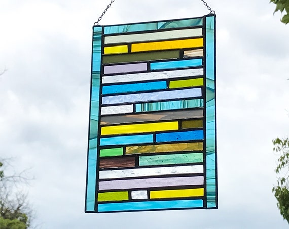 Blue & Yellow Patchwork Stained Glass Panel