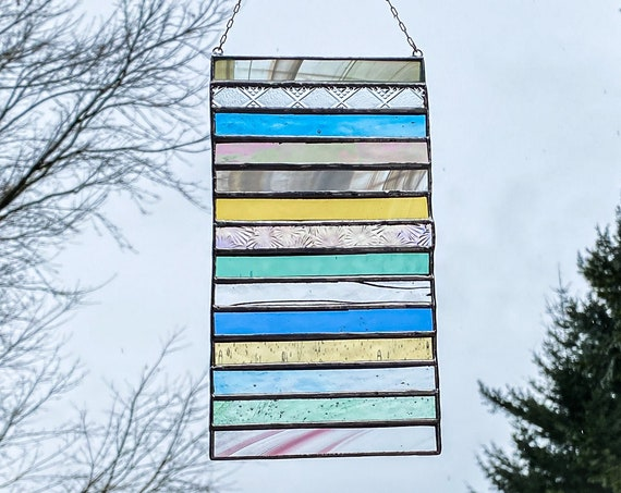 Pastel Tone Stacked Stripe • Suncatcher • Panel