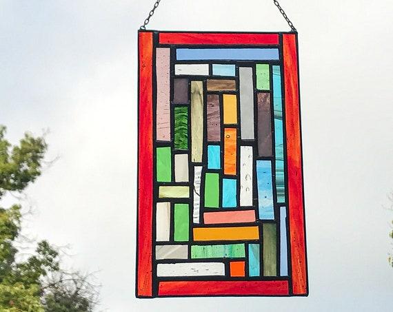Multicolored Patchwork Stained Glass Panel