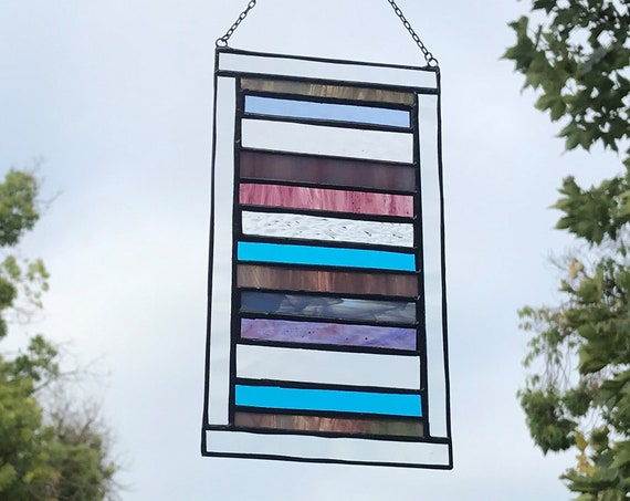 Purple & Blue Stacked Stripe Stained Glass Panel