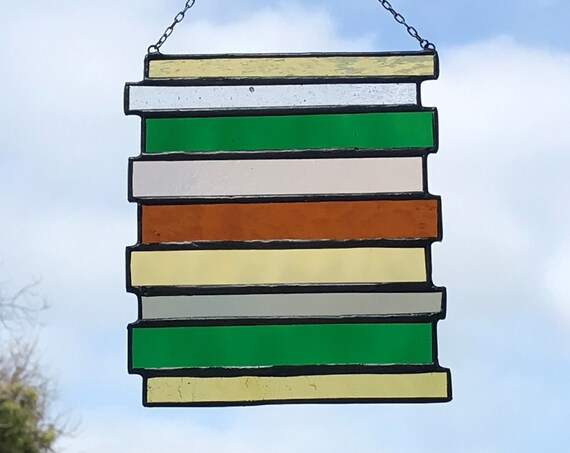 Yellow & Green Stained Glass Suncatcher Panel