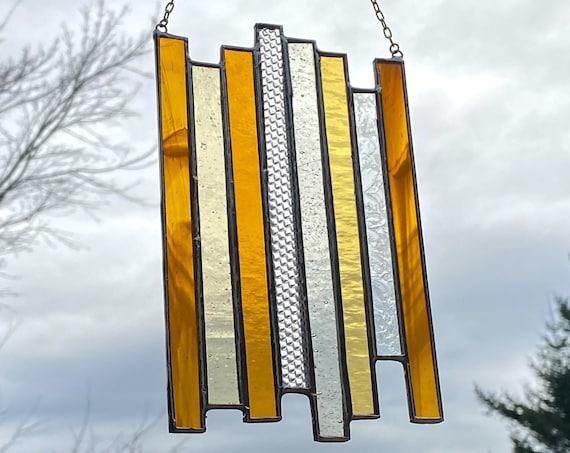 Honey Burnt Orange Vertical Stripe Stained Glass Panel • Suncatcher