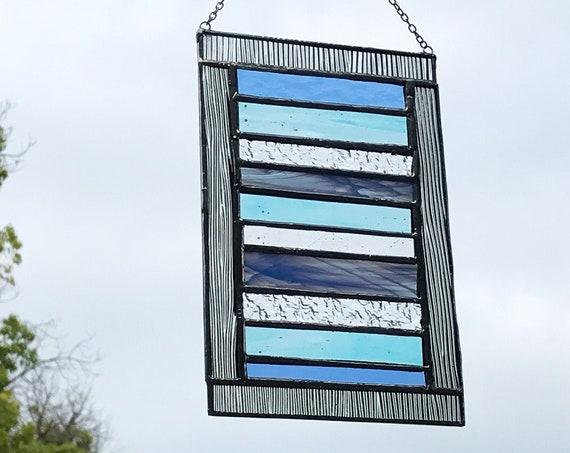 Blue Stacked Stripe • Suncatcher • Panel