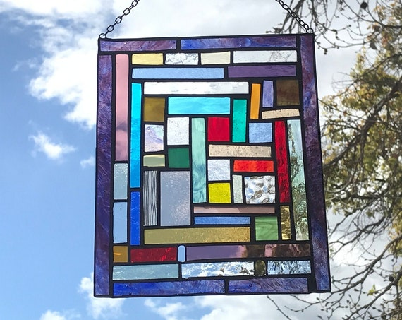 Purple Patchwork Stained Glass Panel