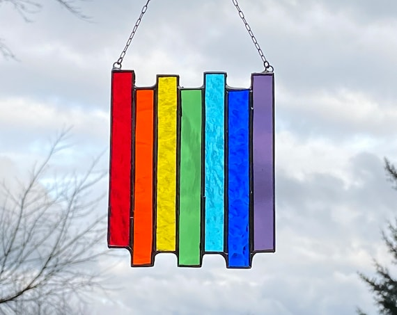 Rainbow stripe ~ Pride Panel • Suncatcher