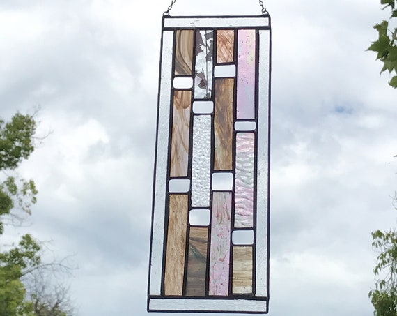 Pink Vertical Stained Glass Panel • Suncatcher
