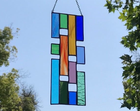 Multicolored Rainbow Stained Glass Panel • Suncatcher