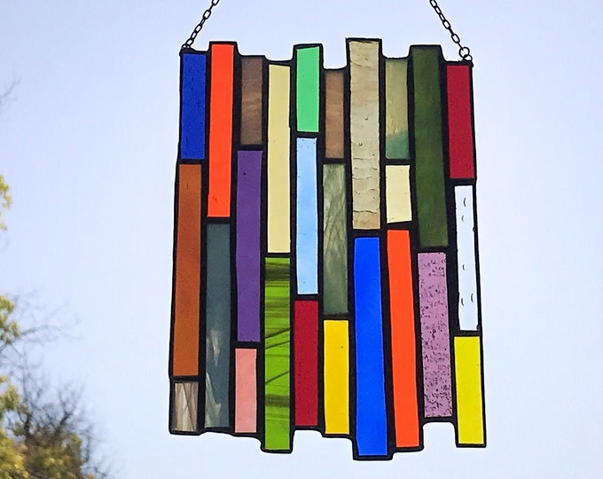 Multicolored Stained Glass Vertical Stripe Panel