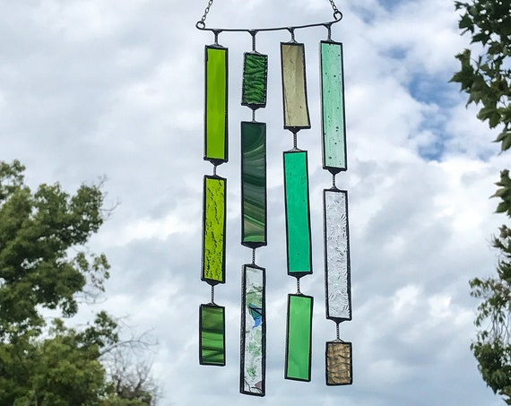 4 String Green Round Rectangle  •  Mobile • Suncatcher • Wall Hanging