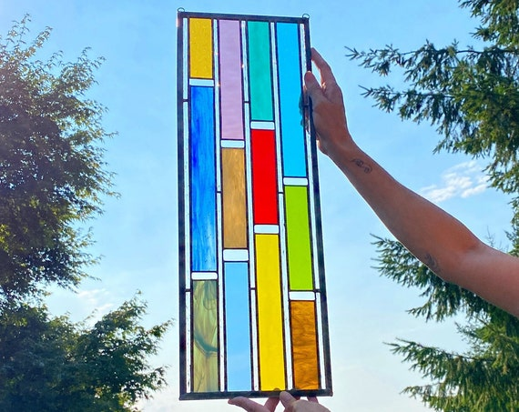 CUSTOM: Multicolored Stained Glass Panel -large
