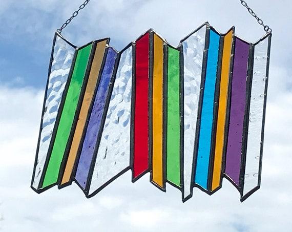 Rainbow Stacked Stripe • Suncatcher • Panel