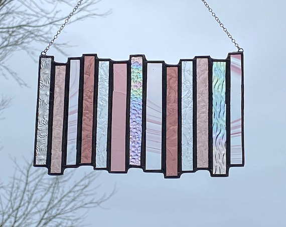 Purple Vertical Stripe Stained Glass Panel • Suncatcher