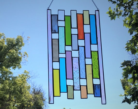Multicolored Vertical Stained Glass Panel