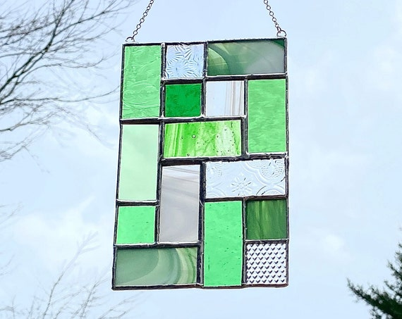 Green Geometric Patchwork • Suncatcher • Panel