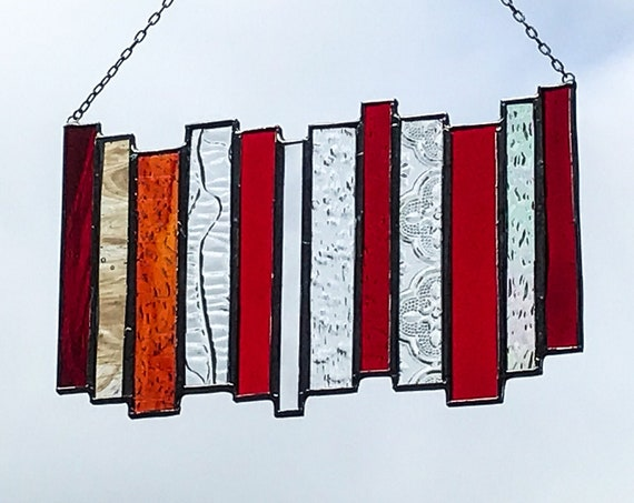 Red Stacked Stripe • Suncatcher • Panel
