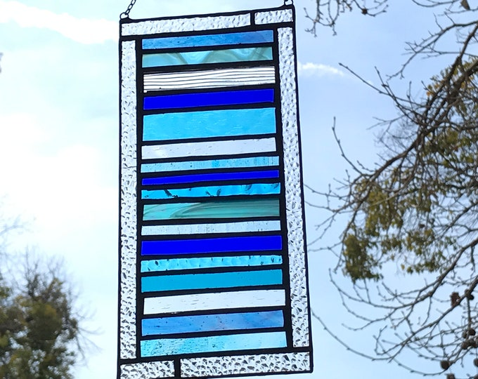 Blue Stacked Stripe Stained Glass Panel