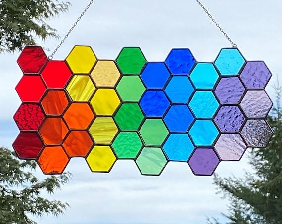 Rainbow Gradient Hexagon :Large Freeform Panel