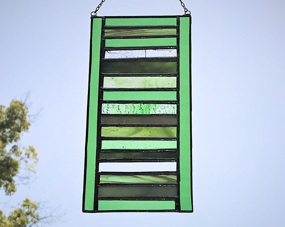 Green Stacked Stripe Stained Glass Panel