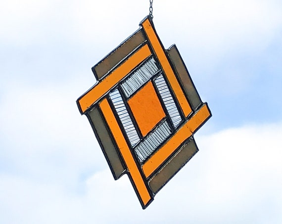 Orange Stacked Diamond • Suncatcher