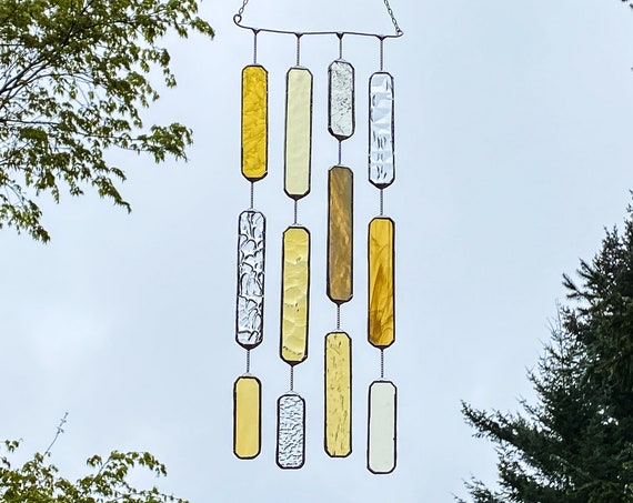 4 String Yellow Hues/Gold Glass Mobile • Suncatcher • Wall Hanging